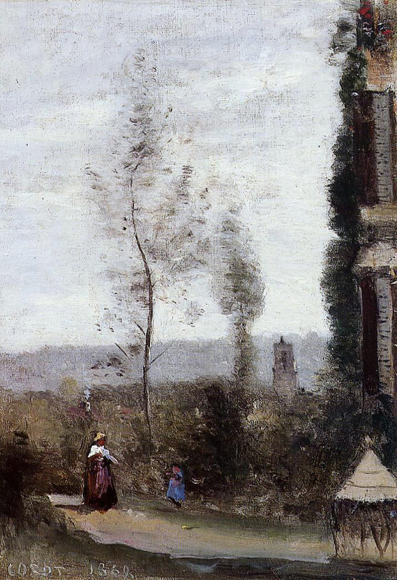 Jean-Baptiste-Camille Corot Coulommiers, The Garden of M. Preschez - Canvas Art Print