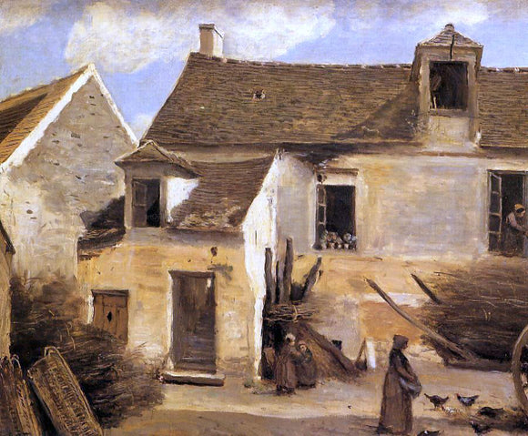 Jean-Baptiste-Camille Corot Courtyard of a Bakery near Paris - Canvas Art Print