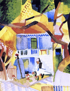 August Macke Courtyard of a Villa at St. Germain - Canvas Art Print