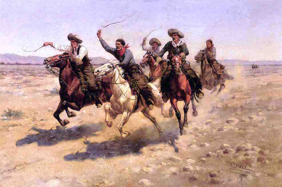 Herman W Hansen Cowboy Race - Canvas Art Print