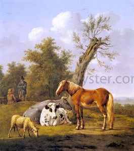 Anthony Oberman Cows, a Horse and a Sheep Resting by a Blasted Oak - Canvas Art Print