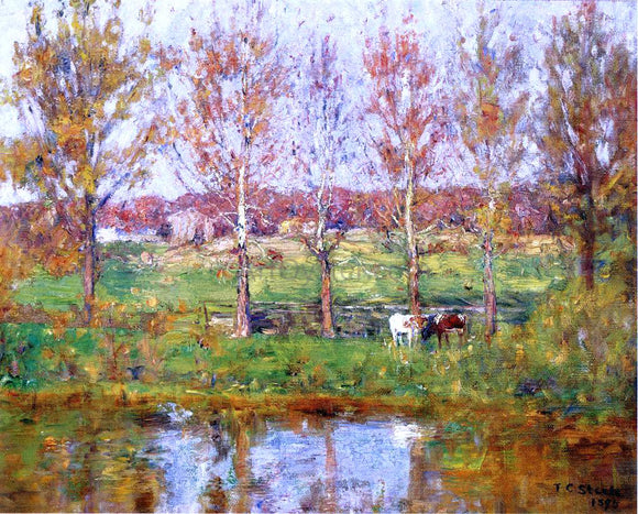 Theodore Clement Steele Cows by the Stream - Canvas Art Print