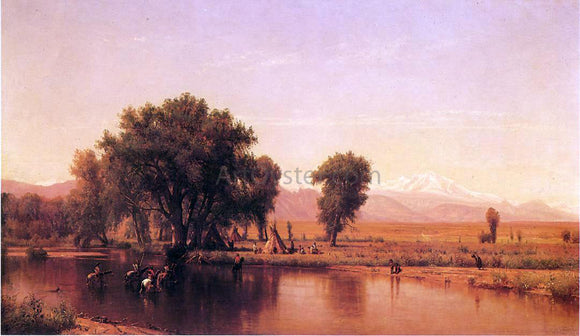 Thomas Worthington Whittredge Crossing the Ford (also known as The Plains at the Base of the Rocky Mountain) - Canvas Art Print