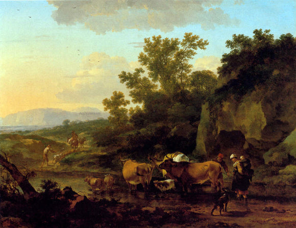 Nicolaes Berchem Crossing The Ford - Canvas Art Print