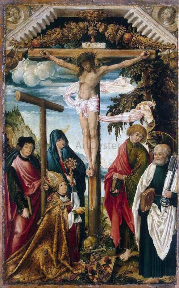 Hans Wertinger Crucifixion with Saints and Donor - Canvas Art Print