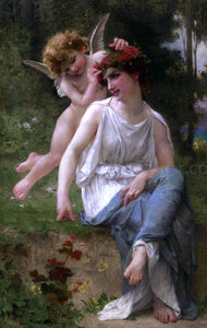 Guillaume Seignac Cupid Adoring a Young Maiden - Canvas Art Print