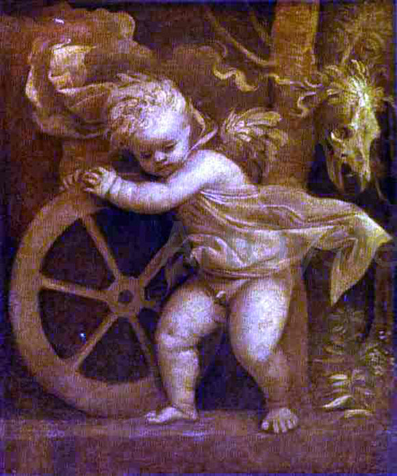 Titian Cupid with the Wheel of Fortune - Canvas Art Print