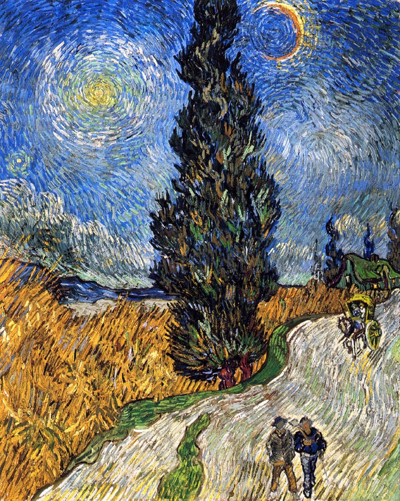 Vincent Van Gogh A Cypress against a Starry Sky (also known as Road with Cypresses) - Canvas Art Print