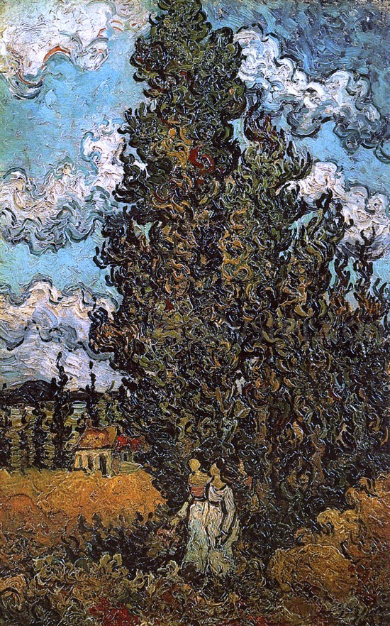 Vincent Van Gogh Cypresses and Two Women - Canvas Art Print