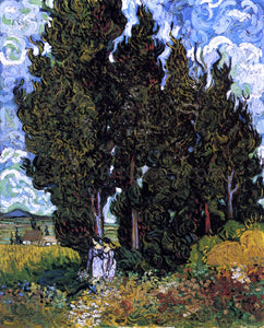 Vincent Van Gogh Cypresses with Two Women - Canvas Art Print