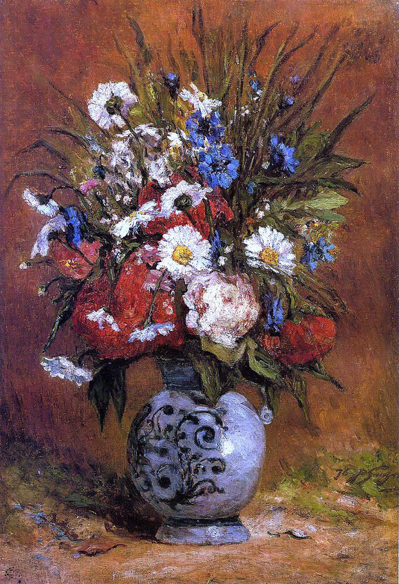 Paul Gauguin Daisies and Peonies in a Blue Vase - Canvas Art Print