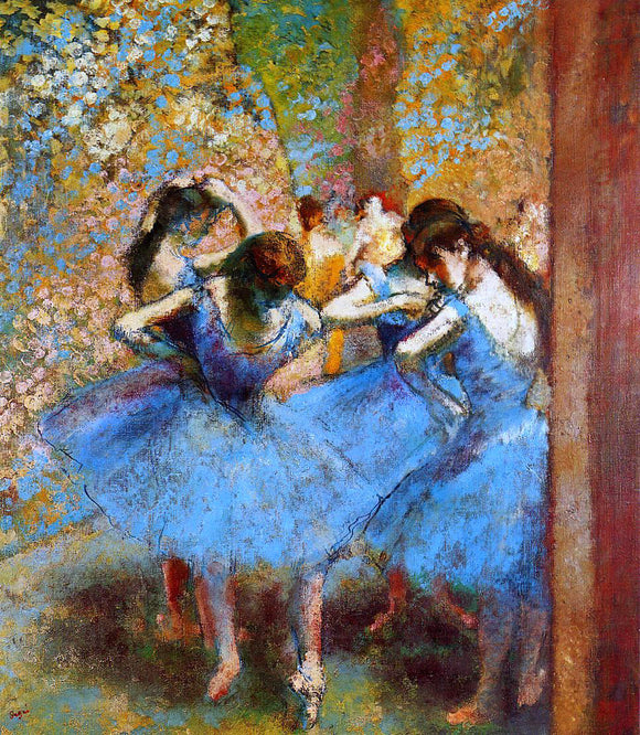 Edgar Degas Dancers in Blue - Canvas Art Print