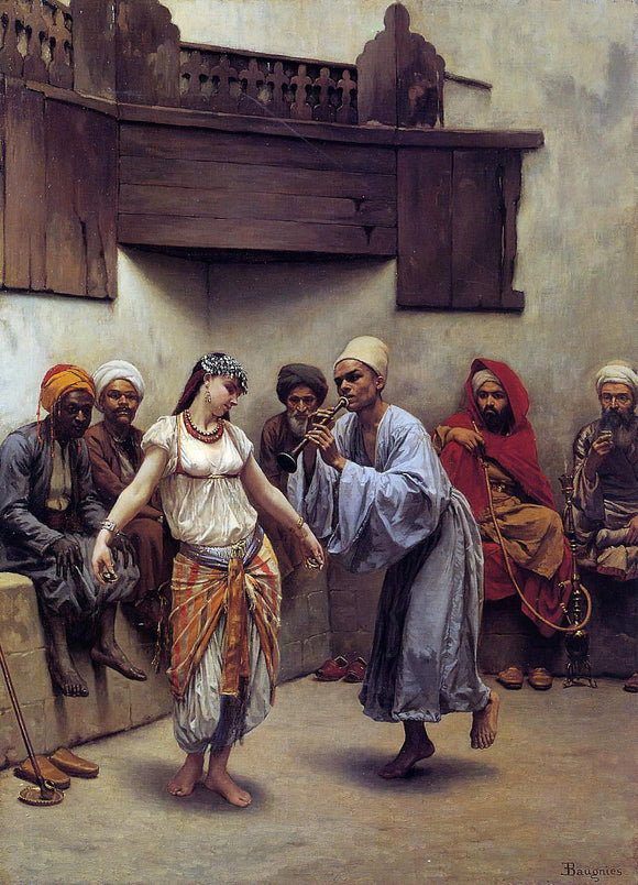 Jacques Baugnies Dancing in a Cafe in Cairo - Canvas Art Print