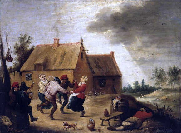 Abraham Teniers Dancing Peasants - Canvas Art Print