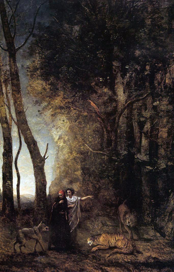 Jean-Baptiste-Camille Corot Dante and Virgil - Canvas Art Print