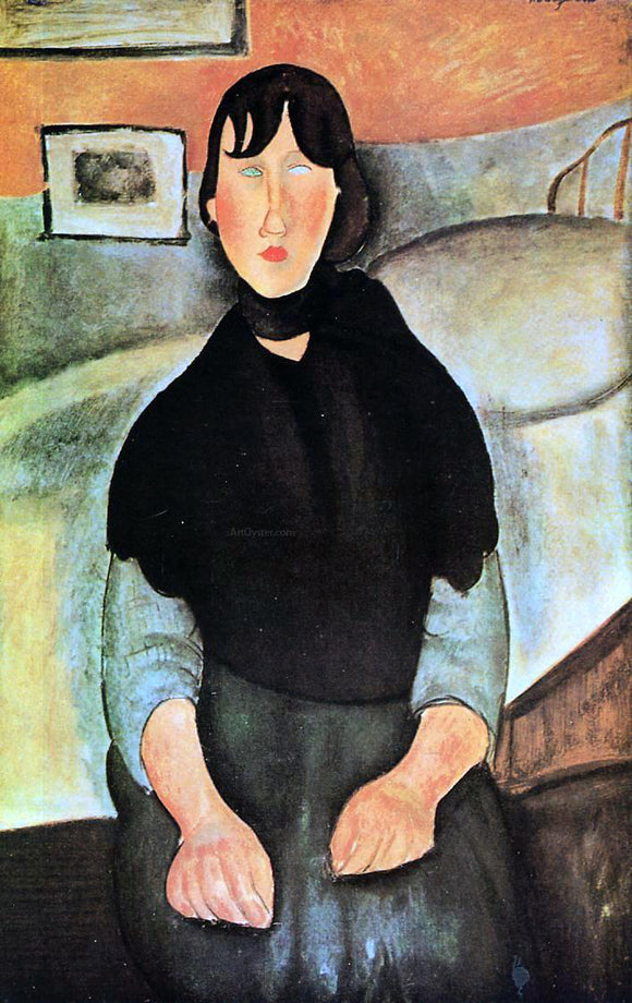 Amedeo Modigliani Dark Young Woman Seated by a Bed - Canvas Art Print