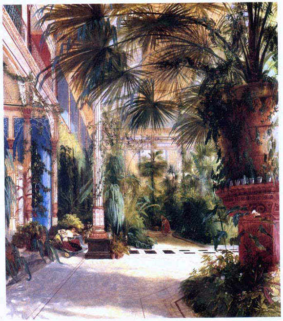 Carl Blechen Das Innere des Palmenhauses (also known as The Interior of the Palm House) - Canvas Art Print