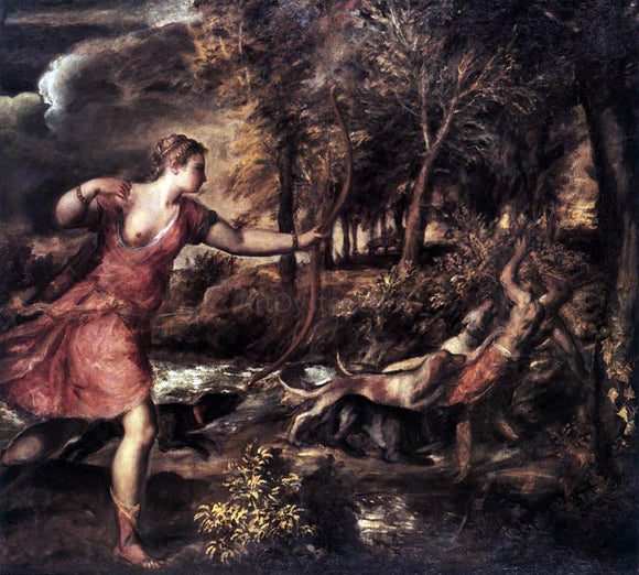 Titian Death of Actaeon - Canvas Art Print