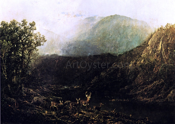 William Louis Sonntag Deer in Landscape - Canvas Art Print