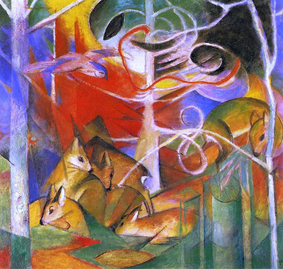 Franz Marc Deer in the Forest - Canvas Art Print