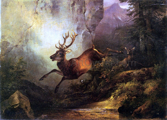 Friedrich Gauermann Deer Running Through a Forest - Canvas Art Print