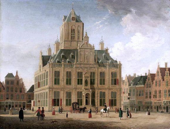 Jan Ten Compe Delft: A View of the Town Hall Seen from the Grote Market - Canvas Art Print