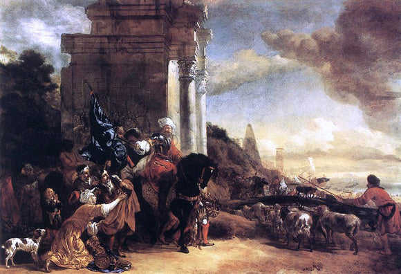 Jan Baptist Weenix Departure of an Oriental Entourage - Canvas Art Print
