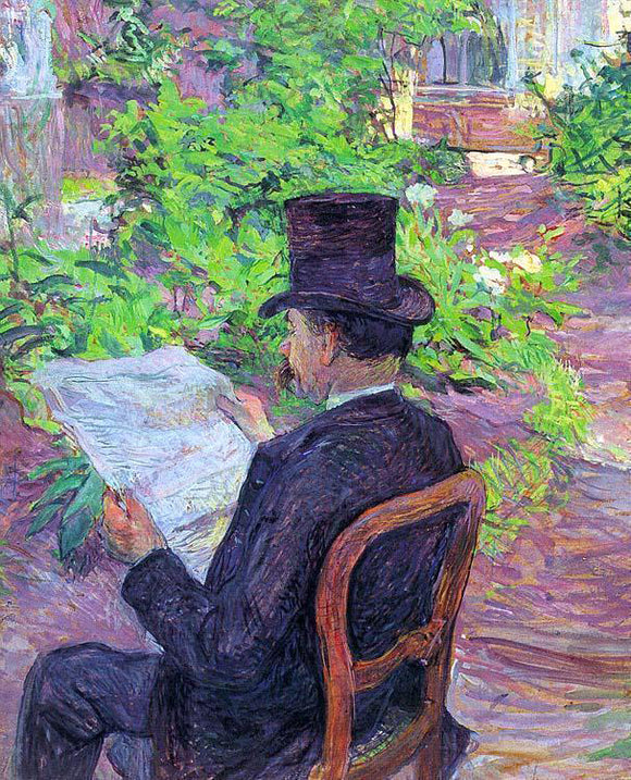 Henri De Toulouse-Lautrec Desire Dehau Reading a Newspaper in the Garden - Canvas Art Print