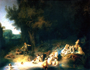 Rembrandt Van Rijn Diana Bathing, with the Stories of Actaeon and Callisto - Canvas Art Print