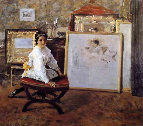 William Merritt Chase Did You Speak to Me? - Canvas Art Print