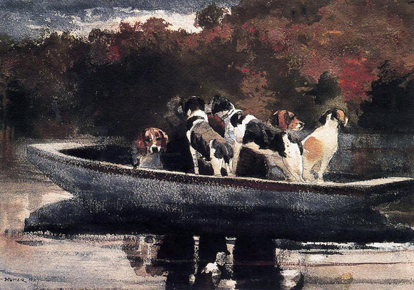 Winslow Homer Dogs in a Boat (also known as Waiting for the Start) - Canvas Art Print