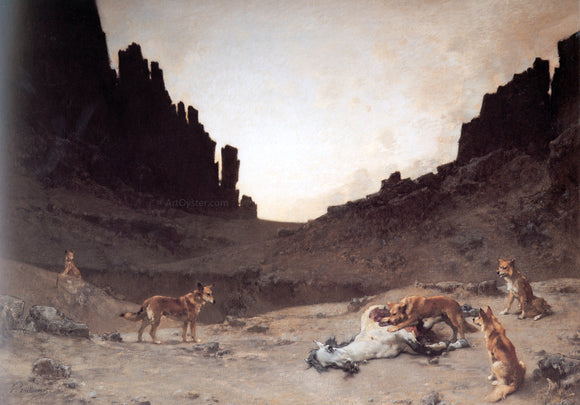 Gustave Achille Guillaumet Dogs of the Douar Devouring a Dead Horse in the Gorges of El Kantar - Canvas Art Print