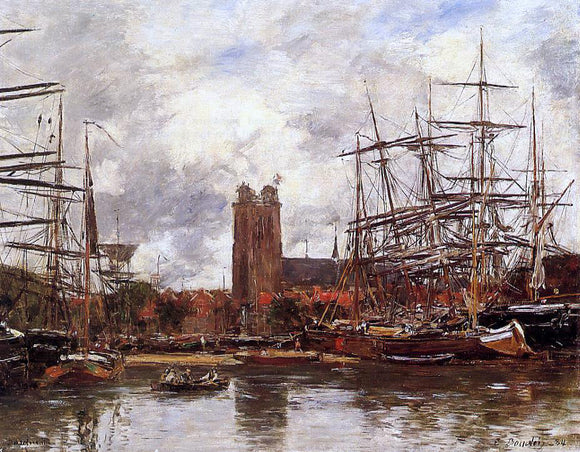 Eugene-Louis Boudin Dordrecht, View of the Port - Canvas Art Print
