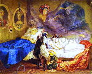 Karl Pavlovich Brulloff Dreams of Grandmother and Granddaughter - Canvas Art Print