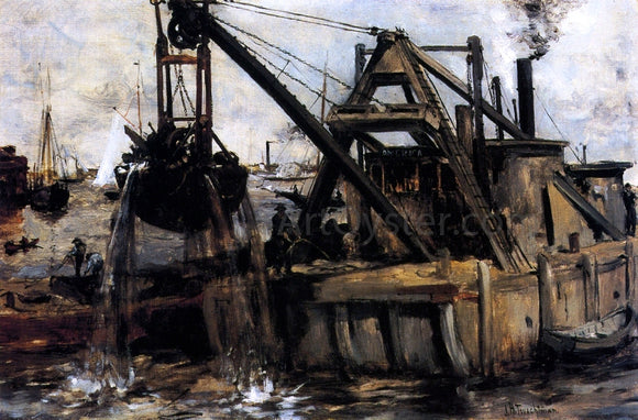 John Twachtman Dredging in the East River - Canvas Art Print