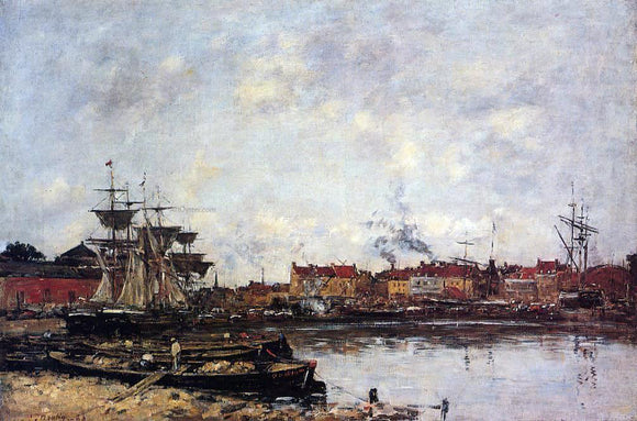 Eugene-Louis Boudin Dunkirk, the Inner Port - Canvas Art Print