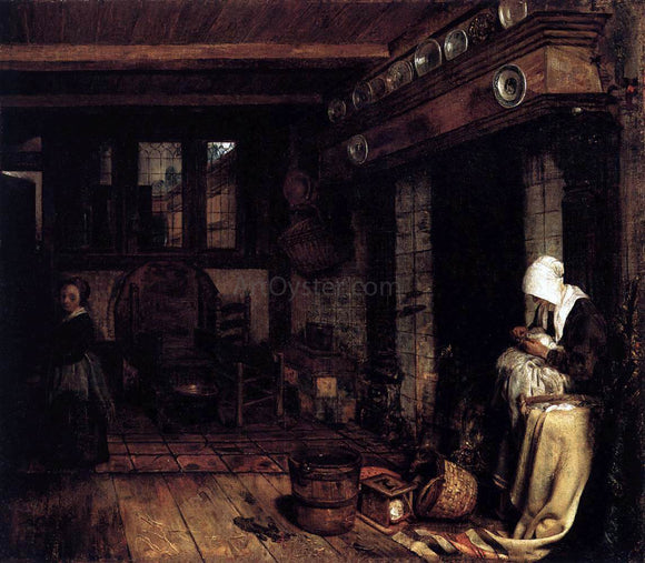 Esaias Boursse Dutch Interior with Woman Sewing - Canvas Art Print