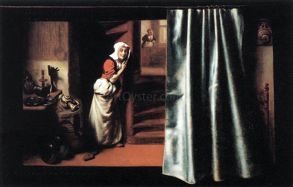 Nicolaes Maes Eavesdropper with a Scolding Woman - Canvas Art Print