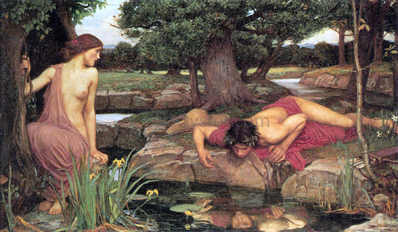 John William Waterhouse Echo and Narcissus - Canvas Art Print