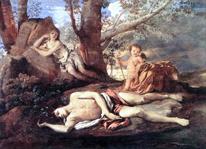 Nicolas Poussin Echo and Narcissus - Canvas Art Print