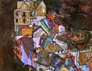 Egon Schiele Edge of Town (also known as Krumau Town Crescent III) - Canvas Art Print