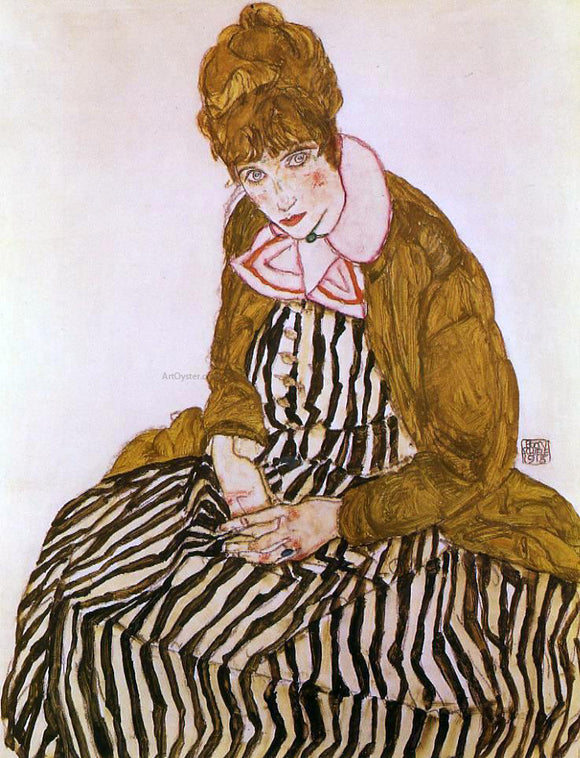 Egon Schiele Edith Schiele, Seated - Canvas Art Print