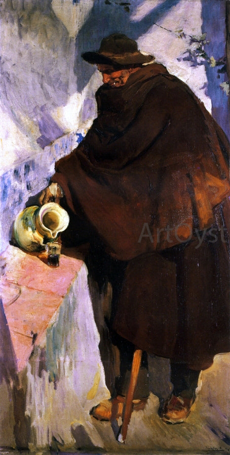 Joaquin Sorolla Y Bastida Elderly Castellano Pouring Wine - Canvas Art Print