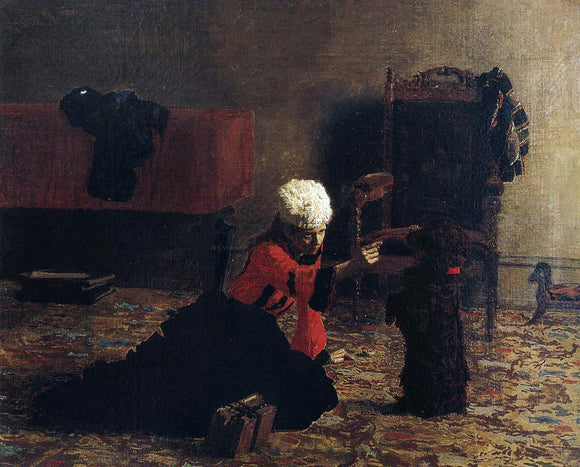 Thomas Eakins Elizabeth Crowell with a Dog - Canvas Art Print