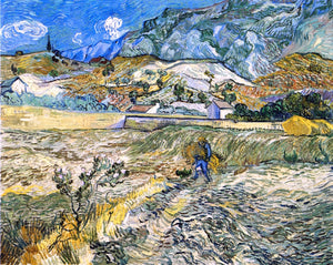 Vincent Van Gogh Enclosed Field with Peasant (also known as Landscape at Saint-Remy) - Canvas Art Print