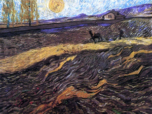 Vincent Van Gogh Enclosed Field with Poughman - Canvas Art Print