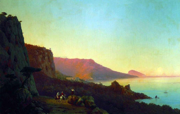 Ivan Constantinovich Aivazovsky Evening in the Crimea, Yalta - Canvas Art Print
