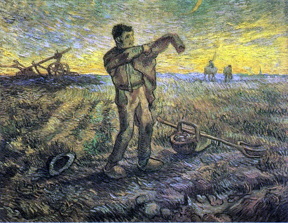 Vincent Van Gogh Evening: The End of the Day (after Millet) - Canvas Art Print