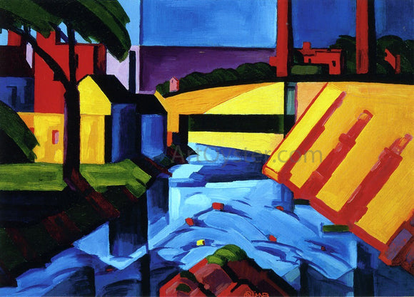 Oscar Bluemner Evening Tones (also known as Bronx River at Mr. Vernon) - Canvas Art Print