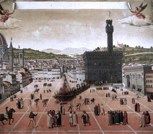Unknown (4) Masters Execution of Savonarola on the Piazza della Signoria - Canvas Art Print